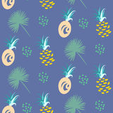 菠萝抽象异乎寻常的蓝色传染媒介无缝的背景 纺织品样式 向量例证