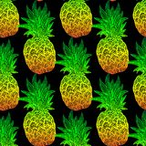 菠萝无缝的样式 免版税库存图片