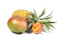 菠萝油桃和成熟热带芒果在白色 免版税库存照片