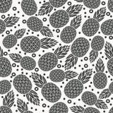 菠萝热带水果单色无缝的样式 库存图片