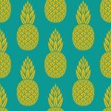 菠萝热带水果无缝的样式 库存照片