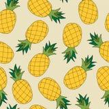 菠萝的手凹道无缝的样式 也corel凹道例证向量 免版税库存图片