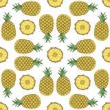 菠萝的无缝的果子样式 免版税库存图片