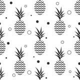 菠萝简单的vetor无缝的背景 纺织品样式 免版税库存图片