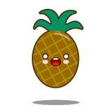 菠萝苹果计算机果子漫画人物象kawaii平的设计传染媒介 免版税库存照片