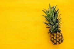 菠萝顶视图在五颜六色的桌上的 夏天和热带概念 库存图片