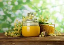 菩提树开花、蜂蜜在瓶子和蜂窝在轻的背景 库存图片