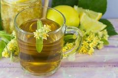菩提树茶用用石灰花装饰的柠檬 免版税库存照片