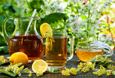 菩提树茶用蜂蜜 免版税库存照片