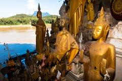 菩萨使印象深刻的老挝人他们注意的ou朴的样式陷下 图库摄影
