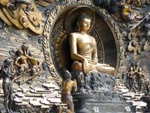 菩萨在灵山的壁画雕象 库存图片
