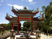 菩萨寺庙,民都鲁,沙捞越,婆罗洲海岛 免版税库存图片