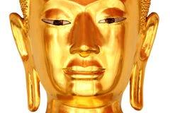 菩萨朝向在白色背景隔绝的雕象(在面孔的焦点) 免版税库存图片