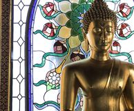 菩萨模型 采取射击在:带浓味Sai寺庙, Bangsapan区, Prachuap Khiri Khan,泰国 在12/31/2017 图库摄影