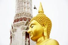 菩萨的美丽的金黄面孔 库存图片