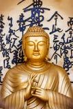 菩萨的雕象世界和平塔,博克拉,尼泊尔 免版税库存图片