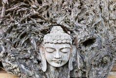菩萨的面孔从木头雕刻了 免版税库存照片
