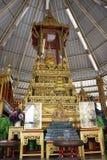 菩萨的wat samheannaree寺庙的,曼谷Thaialnd遗物亭子 免版税库存图片