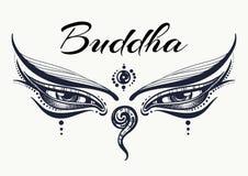 菩萨眼睛 智慧概念 手拉的高详细的被刻记的传染媒介艺术 纹身花刺,瑜伽, spiritualy,纺织品 库存图片