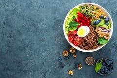 菩萨碗晚餐用煮沸的鸡蛋,鸡豆,新鲜的蕃茄,甜椒,黄瓜,皱叶甘蓝,红洋葱,绿色新芽 免版税库存照片