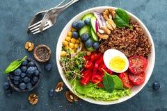 菩萨碗晚餐用煮沸的鸡蛋,鸡豆,新鲜的蕃茄,甜椒,黄瓜,皱叶甘蓝,红洋葱,绿色新芽 图库摄影