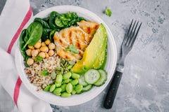 菩萨碗沙拉用菠菜,奎奴亚藜,烤了鸡豆、烤鸡、鲕梨、edamame豆、黄瓜、芝麻和南瓜 免版税库存照片