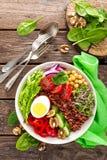 菩萨碗盘用煮沸的鸡蛋,鸡豆,新鲜的蕃茄,甜椒,黄瓜,皱叶甘蓝,红洋葱,绿色新芽,菠菜 图库摄影