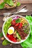 菩萨碗盘用煮沸的鸡蛋,鸡豆,新鲜的蕃茄,甜椒,黄瓜,皱叶甘蓝,红洋葱,绿色新芽,菠菜 库存照片