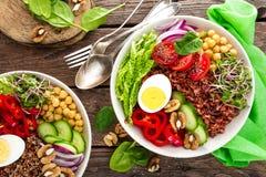 菩萨碗盘用煮沸的鸡蛋,鸡豆,新鲜的蕃茄,甜椒,黄瓜,皱叶甘蓝,红洋葱,绿色新芽,菠菜 免版税库存图片