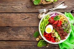 菩萨碗盘用煮沸的鸡蛋,鸡豆,新鲜的蕃茄,甜椒,黄瓜,皱叶甘蓝,红洋葱,绿色新芽,菠菜 免版税图库摄影