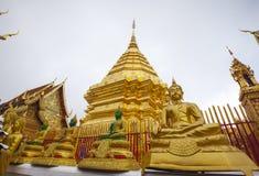 菩萨金黄雕象在Wat Phra那土井素贴 库存图片