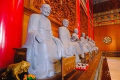 菩萨雕象中国建筑学, Wat Mangkon Kamalawat,中国式寺庙 免版税库存图片