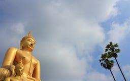 菩萨雕象和亚洲扇叶树头榈棕榈 免版税库存照片