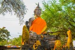 菩萨雕象的大面孔在Watyaichaimongkol大城府,泰国的 免版税库存照片