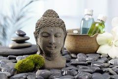 菩萨雕象,热的石头 免版税库存图片