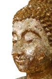 菩萨雕象,金黄菩萨面对在白色背景隔绝的雕象特写镜头 免版税图库摄影