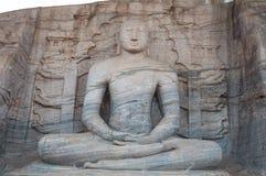 古老菩萨雕象在Gal Vihara,古老市Polonnaruwa,斯里南卡。 科教文组织世界遗产。 免版税库存照片