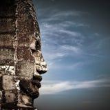 菩萨面对Bayon寺庙在吴哥窟 柬埔寨 免版税库存照片