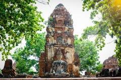 菩萨,一个美丽的古老站点在Wat玛哈作为a的那阿尤特拉利夫雷斯 免版税图库摄影