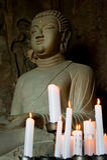 菩萨洞穴济州sanbanggulsa寺庙 免版税库存照片