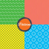 菱形栅格和波浪线无缝的纹理 向量例证