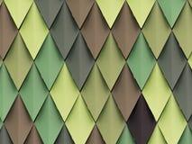 菱形用不同的树荫绿色和棕色在门面 免版税库存图片