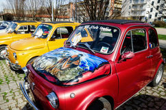 菲亚特500经典之作汽车集会 库存照片