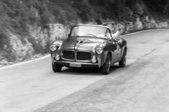 菲亚特1100/103电视在一辆老赛车的TRASFORMABILE 1955年在集会Mille Miglia 2017年 库存照片
