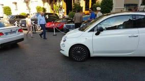 菲亚特500白色在摩纳哥 影视素材