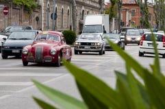 菲亚特1100 S berlinetta Gobbone 1948年和蓝旗亚 免版税库存图片