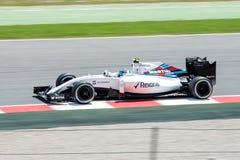 菲利佩・马萨驾驶在轨道的威廉斯马蒂尼鸡尾酒赛车西班牙一级方程式赛车的格兰披治在Circuit de Catalunya 库存图片