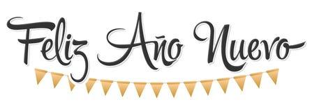 菲利兹Ano努埃沃,新年快乐西班牙文本,传染媒介假日书信设计 皇族释放例证