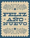 菲利兹Ano努埃沃,新年快乐西班牙文本,传染媒介假日卡片海报设计 库存例证