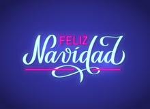 菲利兹Navidad -从西班牙语,霓虹文本标志的圣诞快乐 向量背景 免版税库存照片